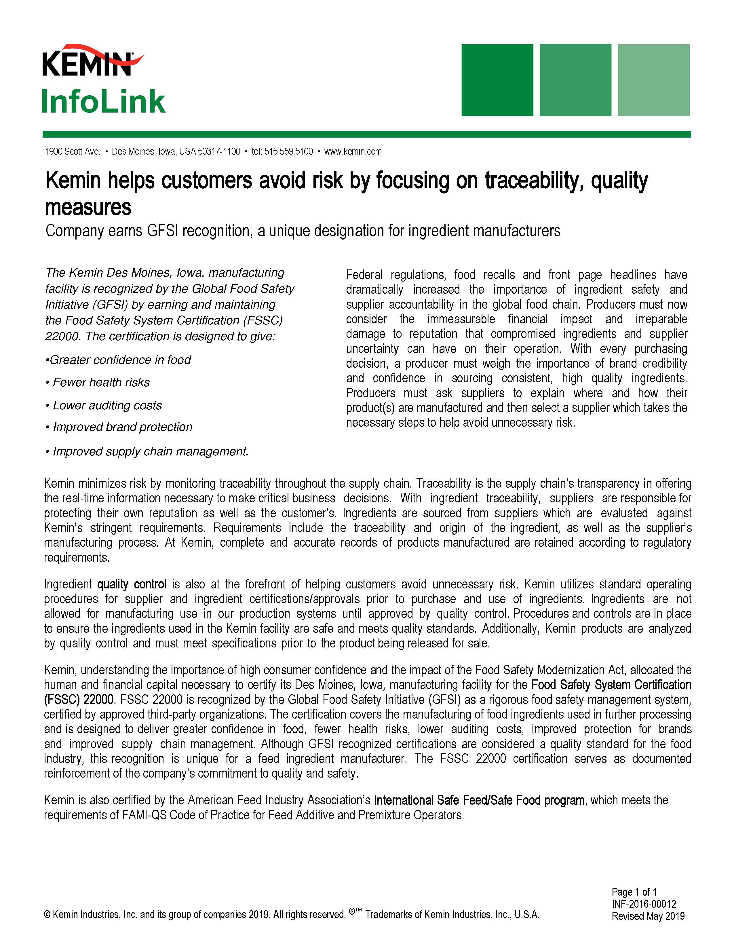 Quality and Safety of KemTRACE® Chromium | Animal Gut Health